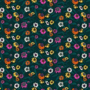 Flora Coloured Flowers Fabric 0.5m