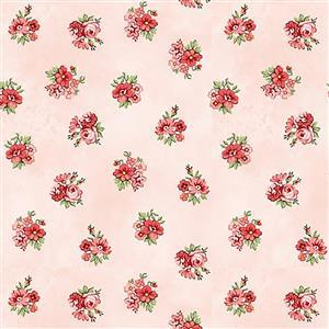 Henry Glass Violet's Garden in Pink Floral Fabric 0.5m