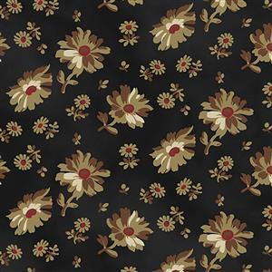 Wildflower Woods on Black With Sunflowers Fabric 0.5m