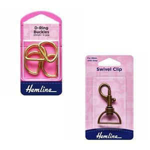 Bronze/Gold Amy Shawl Bag Hardware Bundle: D-Rings (4pcs) & Swivel Clips (4pcs)