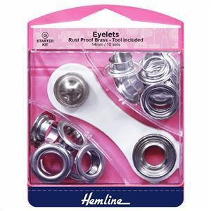 Ten Silver Eyelets Starter Kit: 14mm
