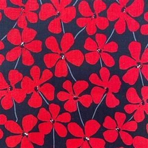 Red Alert in Red on Black Floral Field Fabric 0.5m