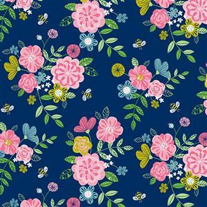 Wildflower Honey Floral Navy Fabric 0.5m