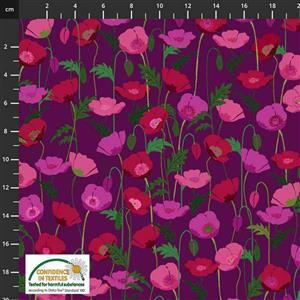 Garden Passion Poppies on Imperial Purple Fabric 0.5m