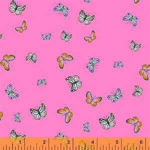Posy Butterflies On Pink Fabric 0.5m