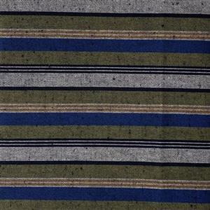 Shimamomen Striped Yarn Dyed Green Blue Grey  Fabric 0.5m