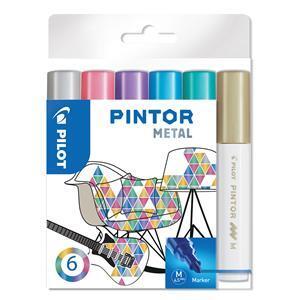 Medium point Metallic Colours Fabric Pens Pack of 6