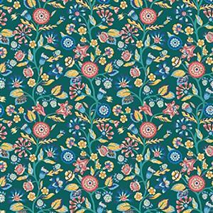 Liberty Emporium Collection Merchant Bright's Tree Turquoise Fabric 0.5m