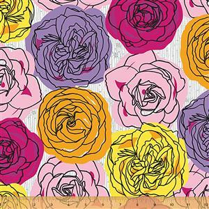 Norma Rose Rose Garden on Pink Fabric 0.5m