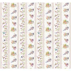 Flowers & Feathers Tea Party Stripes Fabric 0.5m