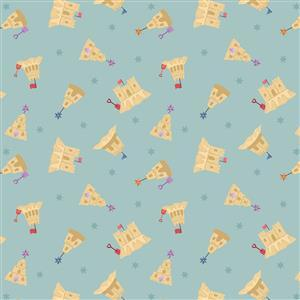 Lewis & Irene Small Things Sandcastles on Sky Blue Fabric 0.5m