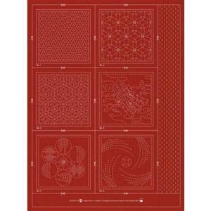 Sashiko & Hitome-Sashi Brick Colour Geo 3 Coaster Pack Of 6