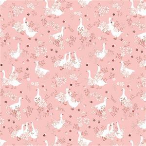 Poppie Cotton Goose Creek Gardens On Pink Fabric 0.5m