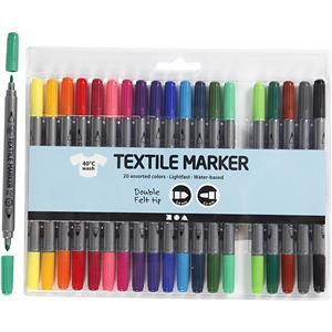 Multi Colour Textile Marker Felt Tip Pens Pack of 20