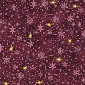 Gold Shimmer Purple Shining Star Fabric 0.5m