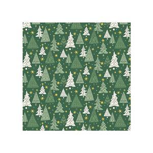 Liberty Festive Season Christmas Trees on Green Fabric 0.5m