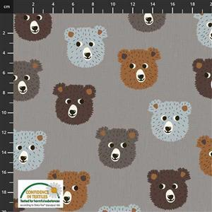 Find The Woods Bears Brown Grey Fabric 0.5m
