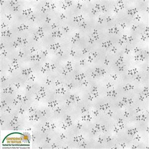 Stof Quilters Co-Ordinates Grey Flowers Fabric 0.5m