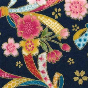 Sevenberry Gold Metallic Traditional Japanese Bows & Flowers Black Fabric 0.5m