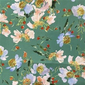 Wildflower Clair De Lune on Spruce Fabric 0.5m