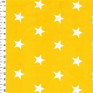 Rose & Hubble Cotton Poplin Yellow Stars Fabric 0.5m
