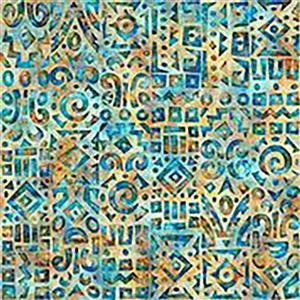 Dan Morris South West Reflections Blue Tribal Reflection Fabric 0.5m