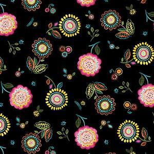 Happy Days in Roses on Black Fabric 0.5m