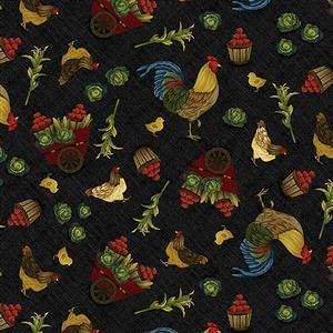 Henry Glass Farm to Market Tossed Rooster on Black Fabric 0.5m