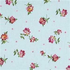 Michael Miller's Victoria's Garden Rose Chain on Blue Fabric 0.5m