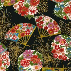 Sevenberry Gold Metallic Traditional Japanese Fan Black Fabric 0.5m