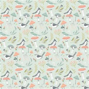 Woodland Songbirds in Blue Fabric 0.5m