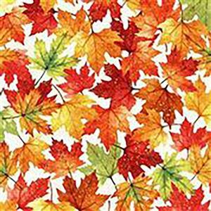 Hoffman Autumn Is In The Air Harvest Gold Fallen Leaves Fabric 0.5m