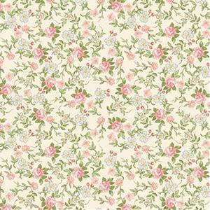 Riley Blake Rose Violets Rose Garden Cream Fabric 0.5m