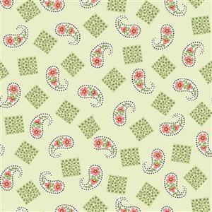 Henry Glass Violets Garden Paisley Sage Fabric 0.5m