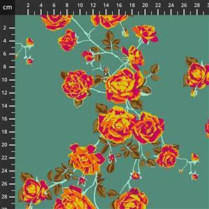 Anna Maria Horner Love Always Orange Rose Stem Fabric 0.5m