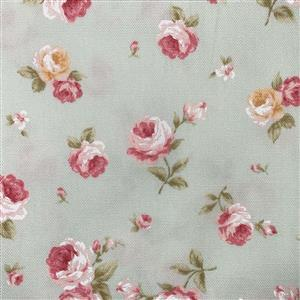 Floral Story Tossed Roses On Mint Fabric 0.5m - Sewing Street exclusive