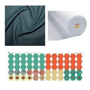 June Showers Autumn Days Hexie Purse Bundle: Fabric Panel, Fabric (1m) & Fleece (1m)