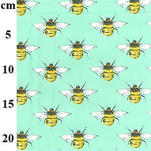 Bees on Meadow Cotton Poplin Fabric 0.5m