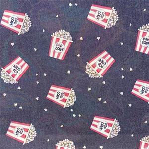Pop! Popcorn Bucket Toss On Black Fabric 0.5m