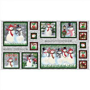 Winter Greetings Snowmen Panel 0.6m