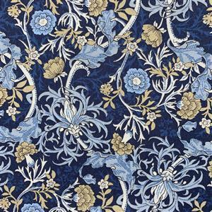 Country Floral Wild Side on Navy Blue Fabric 0.5m Exclusive