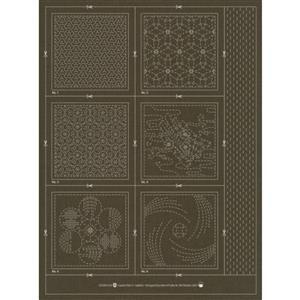 Sashiko & Hitome-Sashi Slate Colour Geo 3 Coaster Pack Of 6