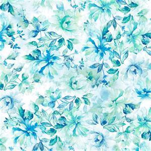 Emma Aqua Floral Wide Backing Fabric 0.5m (274cm)