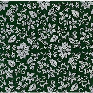 Silver Flowers on Green Fabric 0.5m