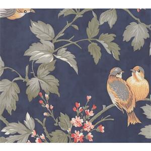 Moda Daybreak Birdsong Evening on Navy Fabric 0.5m