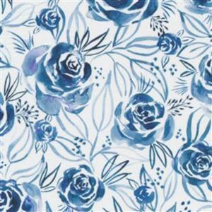 Moda Moody Bloom Rose Blue Fabric 0.5m