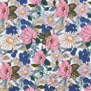 Country Roads Pink & Blue Flowers on White Fabric 0.5m