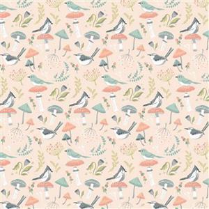 Woodland Songbirds in Peach Fabric 0.5m