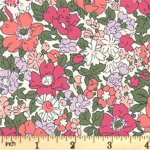 Liberty Cottage Garden Collection Red Cream Cosmos Meadow Fabric 0.5m