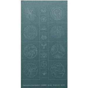 Sashiko Tsumugi Preprinted Kamon 19 Light Blue Fabric Panel 108x61cm